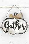 5.25 x 6 'Gather' Tin Pumpkin Wall Sign