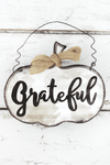 5.25 x 6 'Grateful' Tin Pumpkin Wall Sign