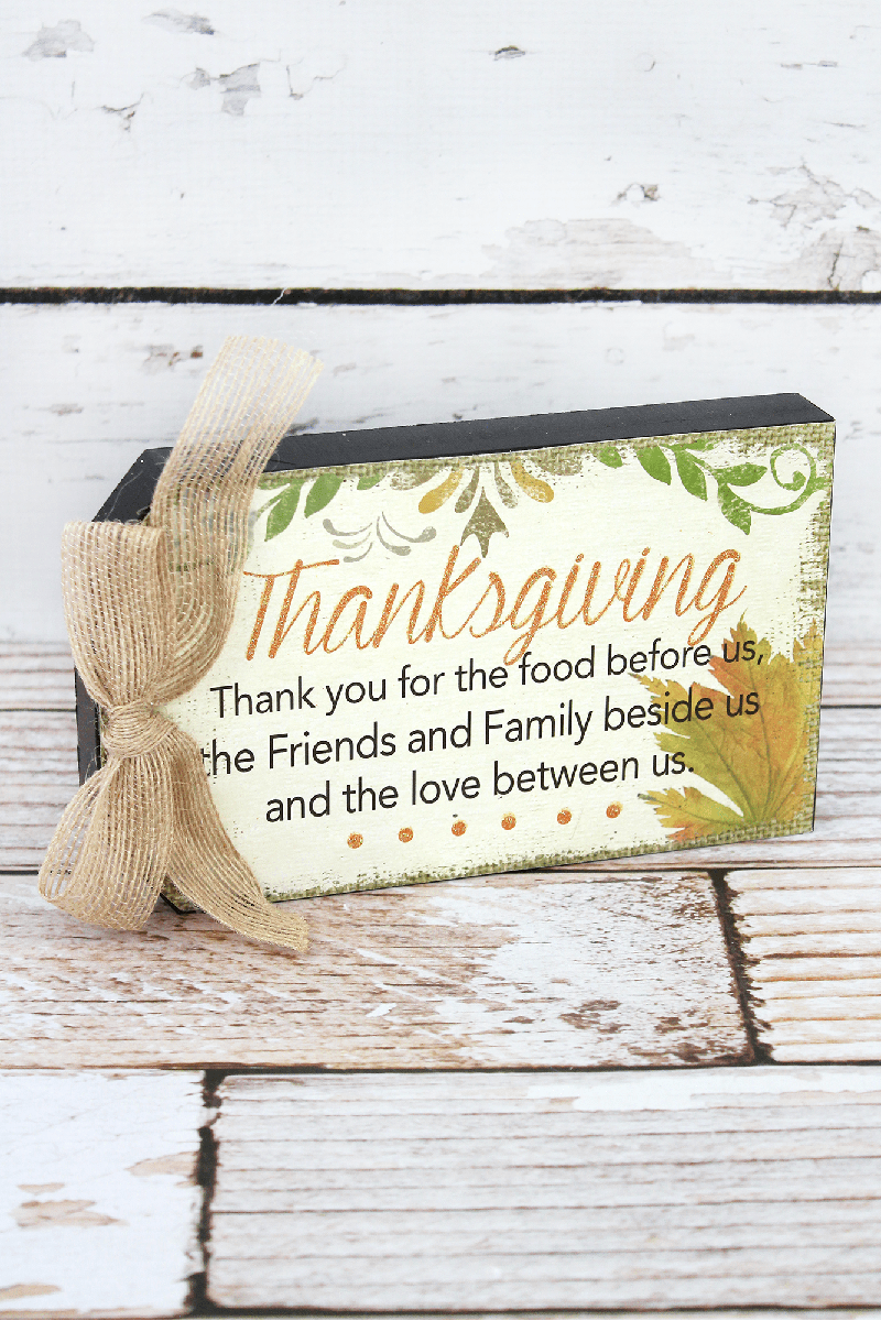 4.75 x 7.75 'Thanksgiving' Wood Gift Tag Sign