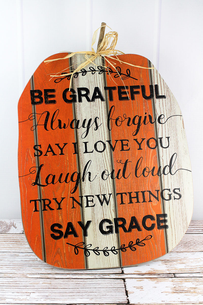 25 x 17.5 'Be Grateful' Inspirational Wood Pumpkin Sign
