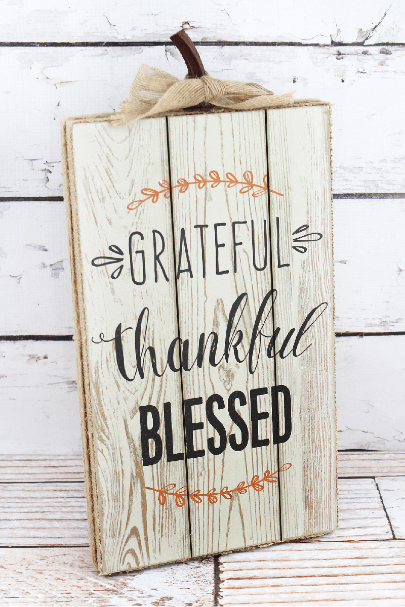 15.25 x 7.5 'Grateful Thankful Blessed' Burlap Trimmed Wood Sign