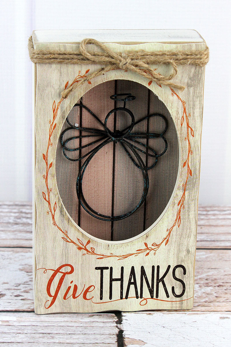 7.75 x 4.5 'Give Thanks' Wood with Wire Angel Shadowbox