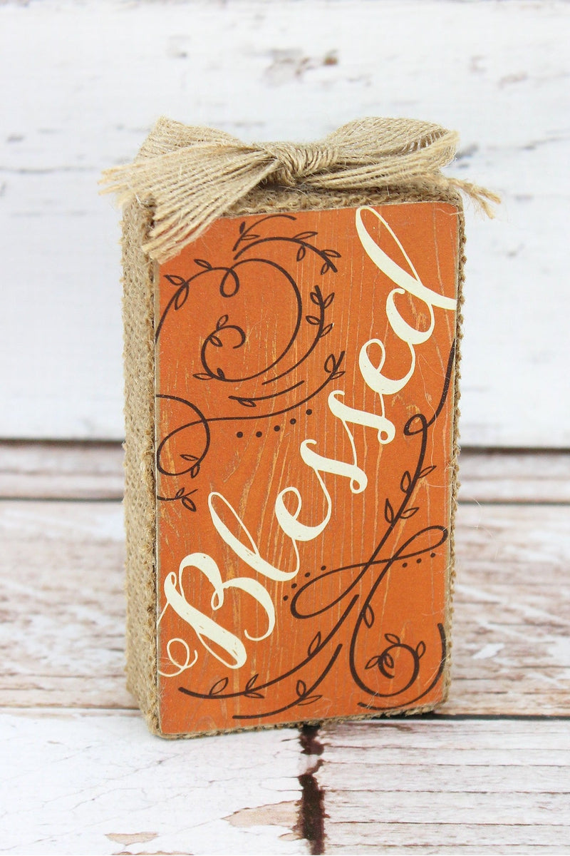 5 x 2.75 'Blessed' Burlap Trimmed Wood Tabletop Block