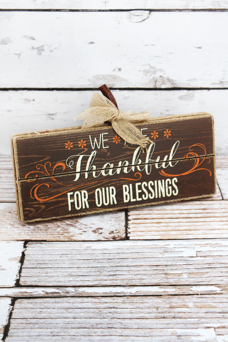 6.75 x 11 'Thankful For Our Blessings' Burlap Trimmed Wood Sign