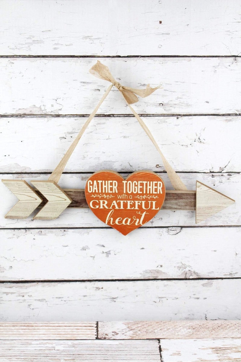 6.5 x 20 'Gather Together' Wood Heart Arrow