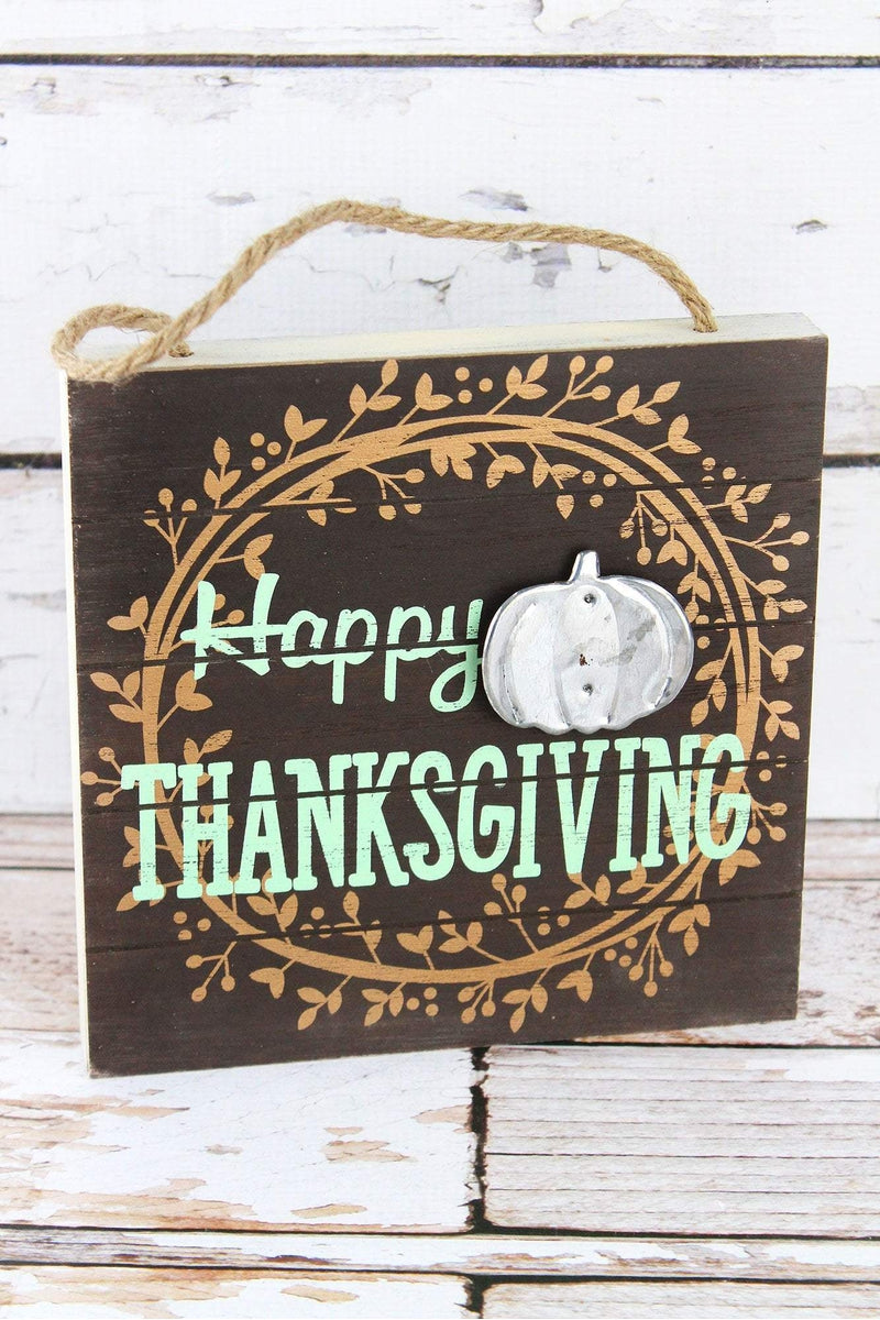 8 x 8 'Happy Thanksgiving' Wood with Metal Pumpkin Sign