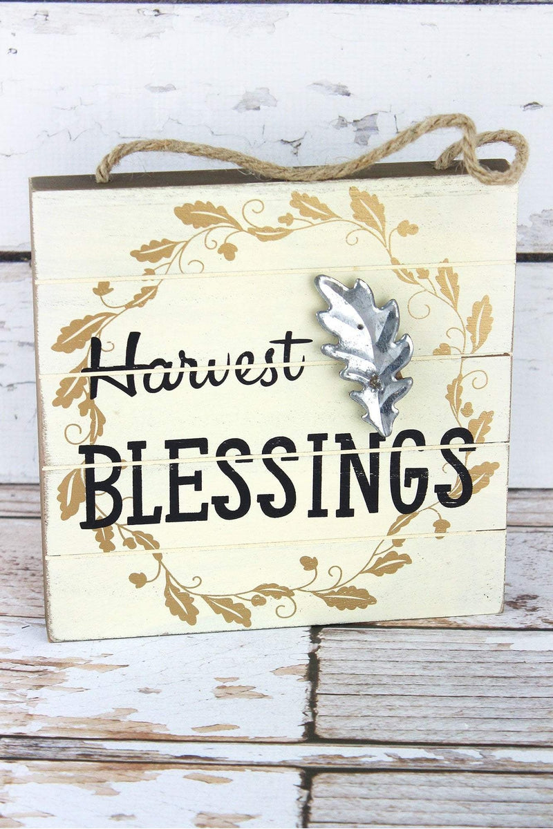8 x 8 'Harvest Blessings' Wood with Metal Leaf Sign