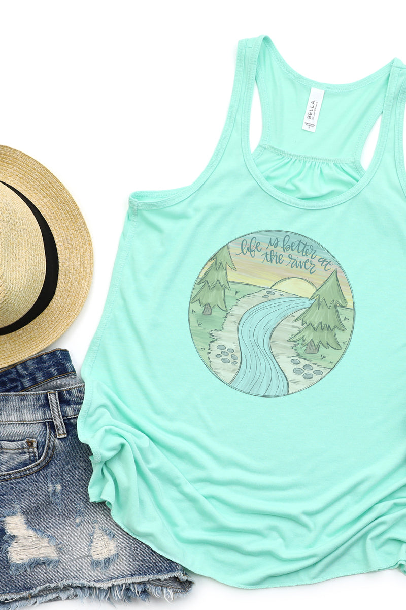 Doodle Life Is Better At The River Flowy Racerback Tank