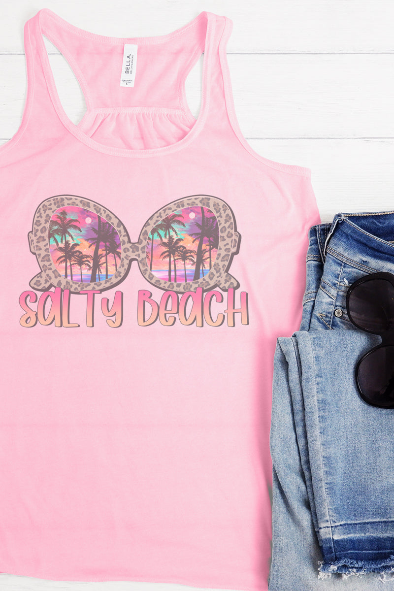 Salty Beach Sunglasses Flowy Racerback Tank