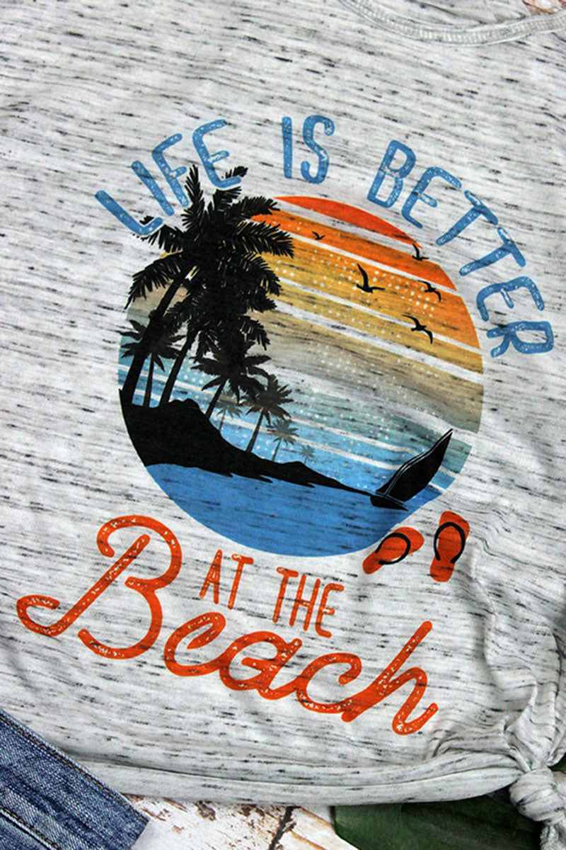Life Is Better At The Beach Flowy Racerback Tank