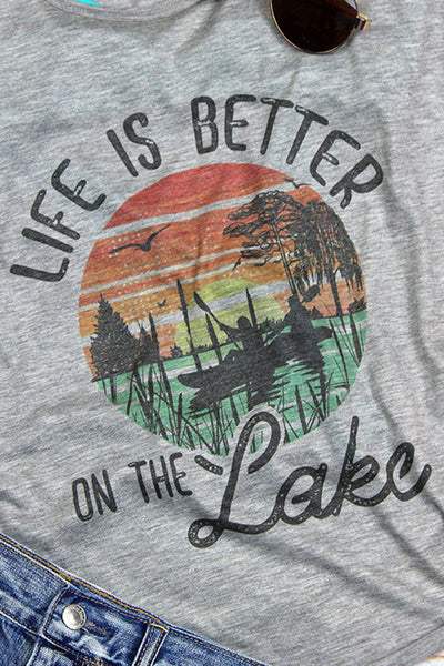 Life Is Better On The Lake Flowy Racerback Tank