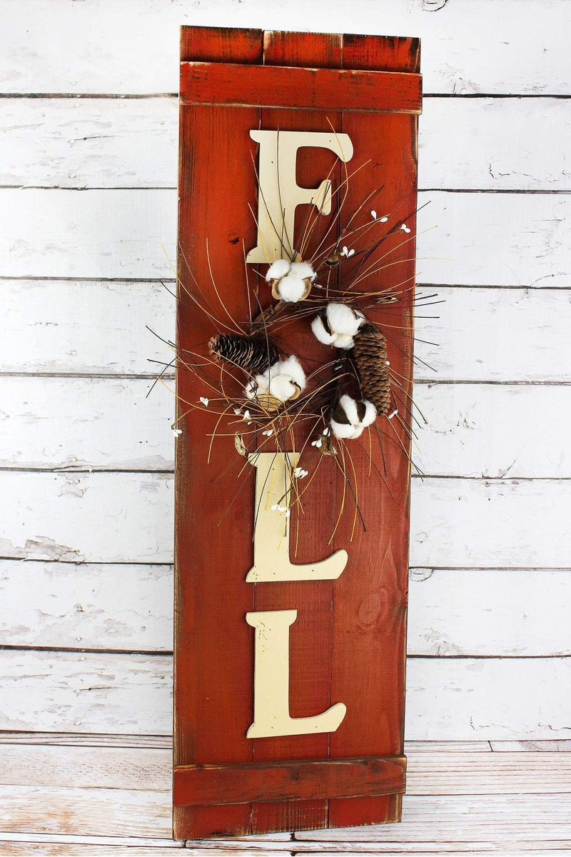 36 x 10.75 'Fall' Wreathed Wood Wall Sign