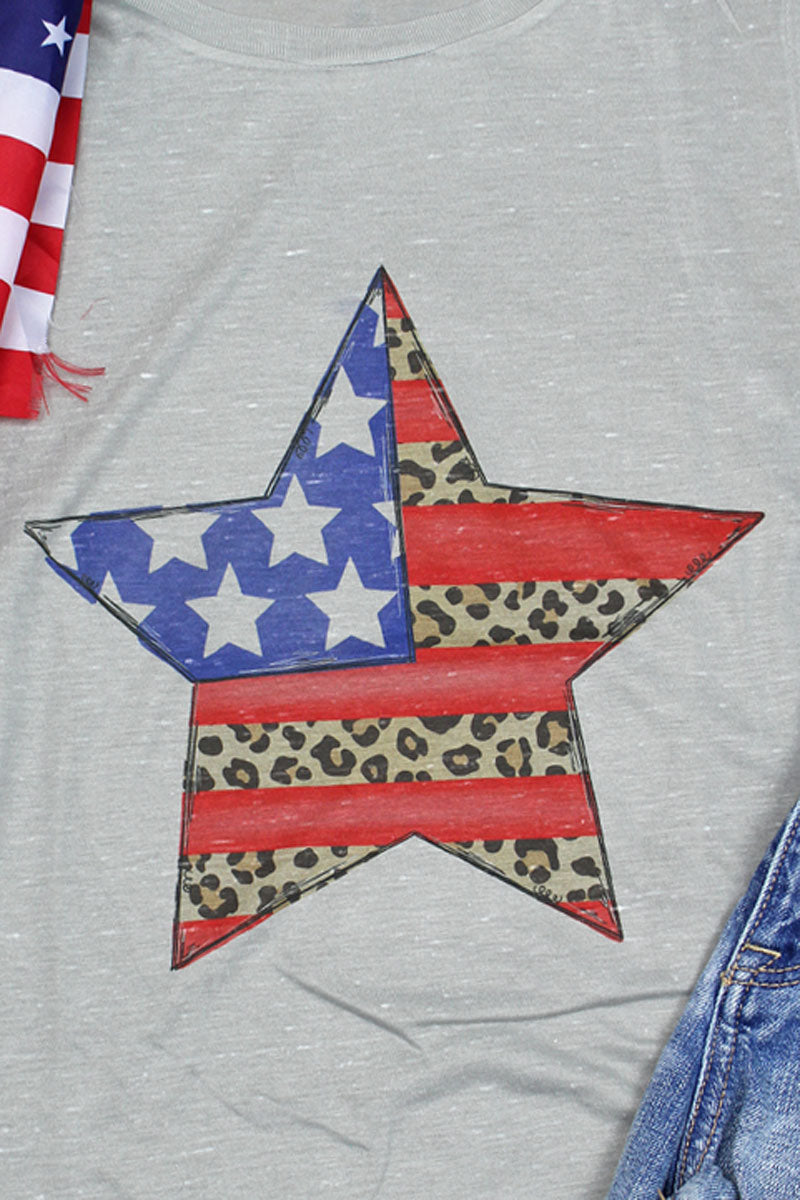 Patriotic Leopard Star Women's Flowy Scoop Muscle Tank