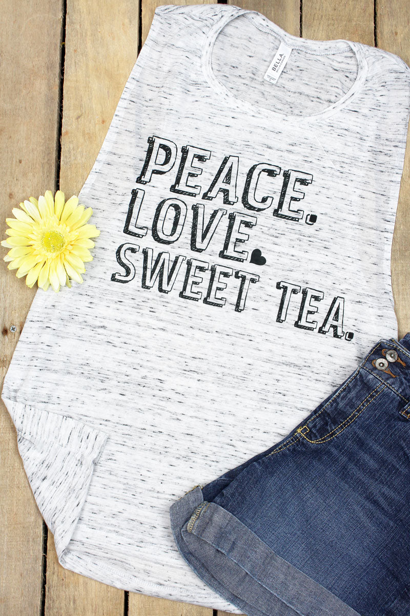 Peace Love Sweet Tea Women's Flowy Scoop Muscle Tank