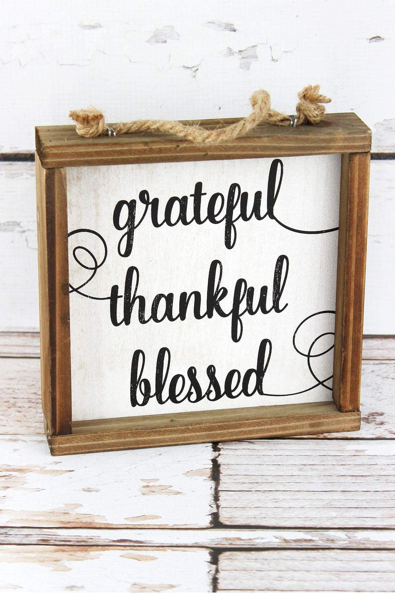 7 x 7 'Grateful Thankful Blessed' Framed Wood Block Sign