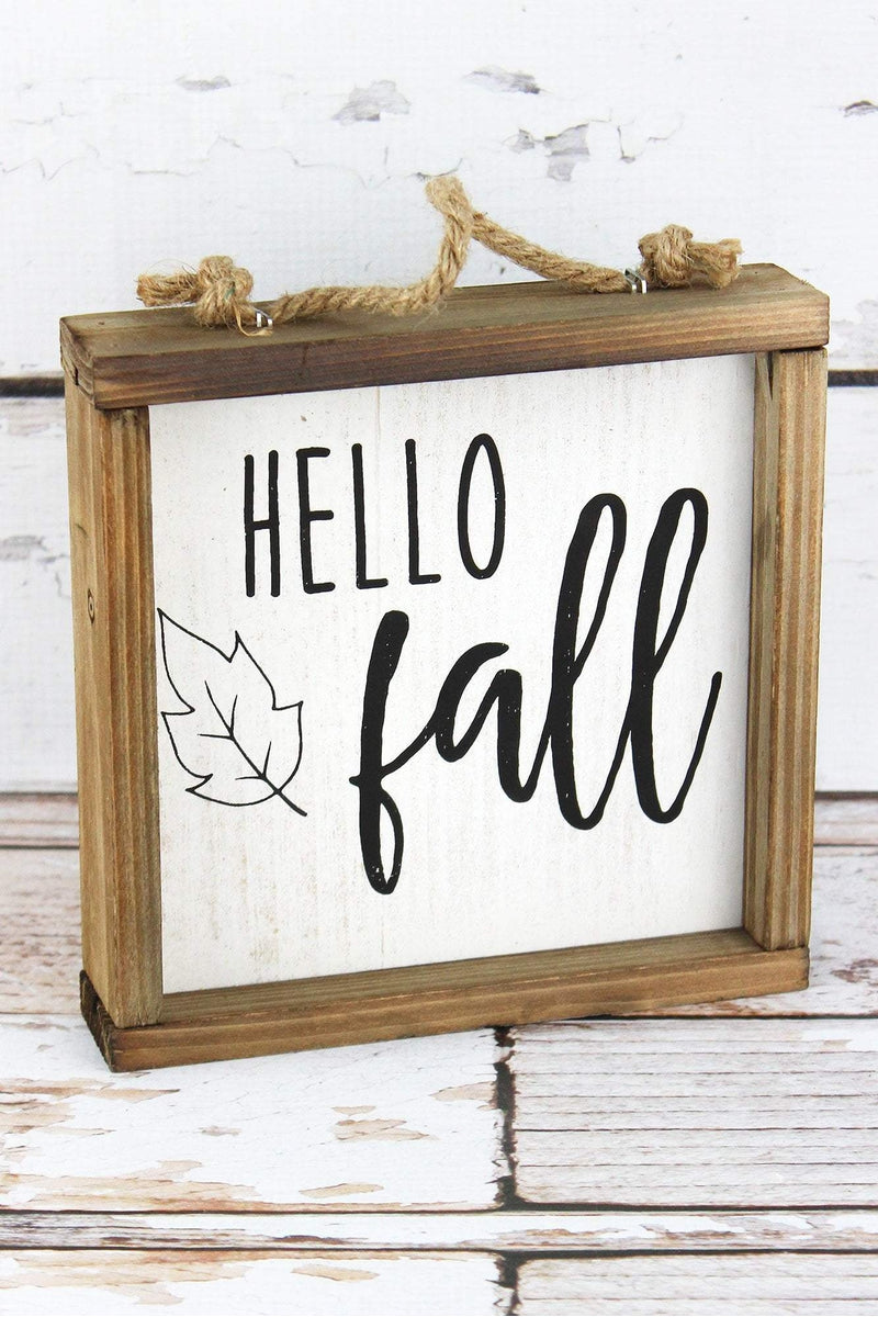 7 x 7 'Hello Fall' Framed Wood Block Sign