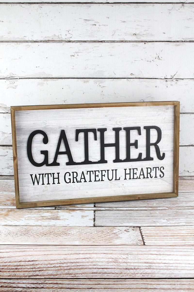 12.5 x 21 'Gather With Grateful Hearts' Framed Wood Sign