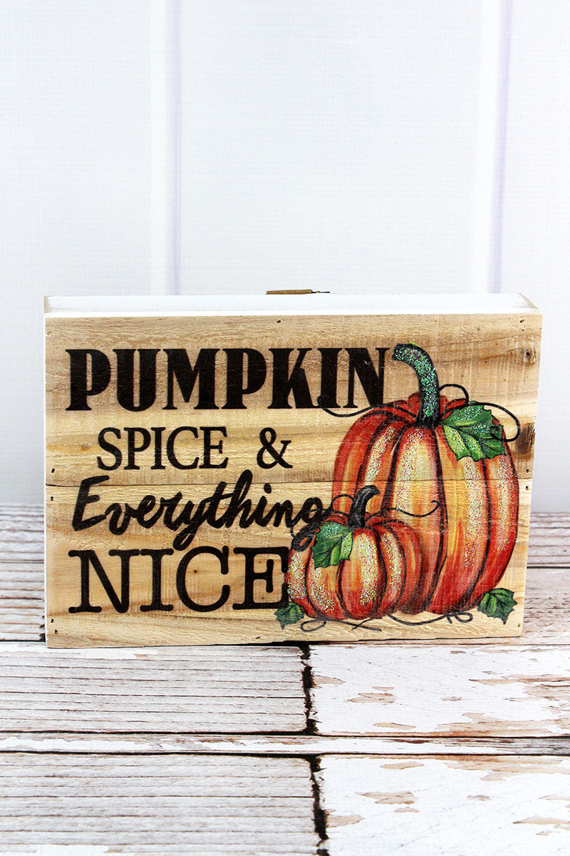 6.75 x 9.5 'Pumpkin Spice & Everything Nice' Glitter Pumpkin Wood Sign