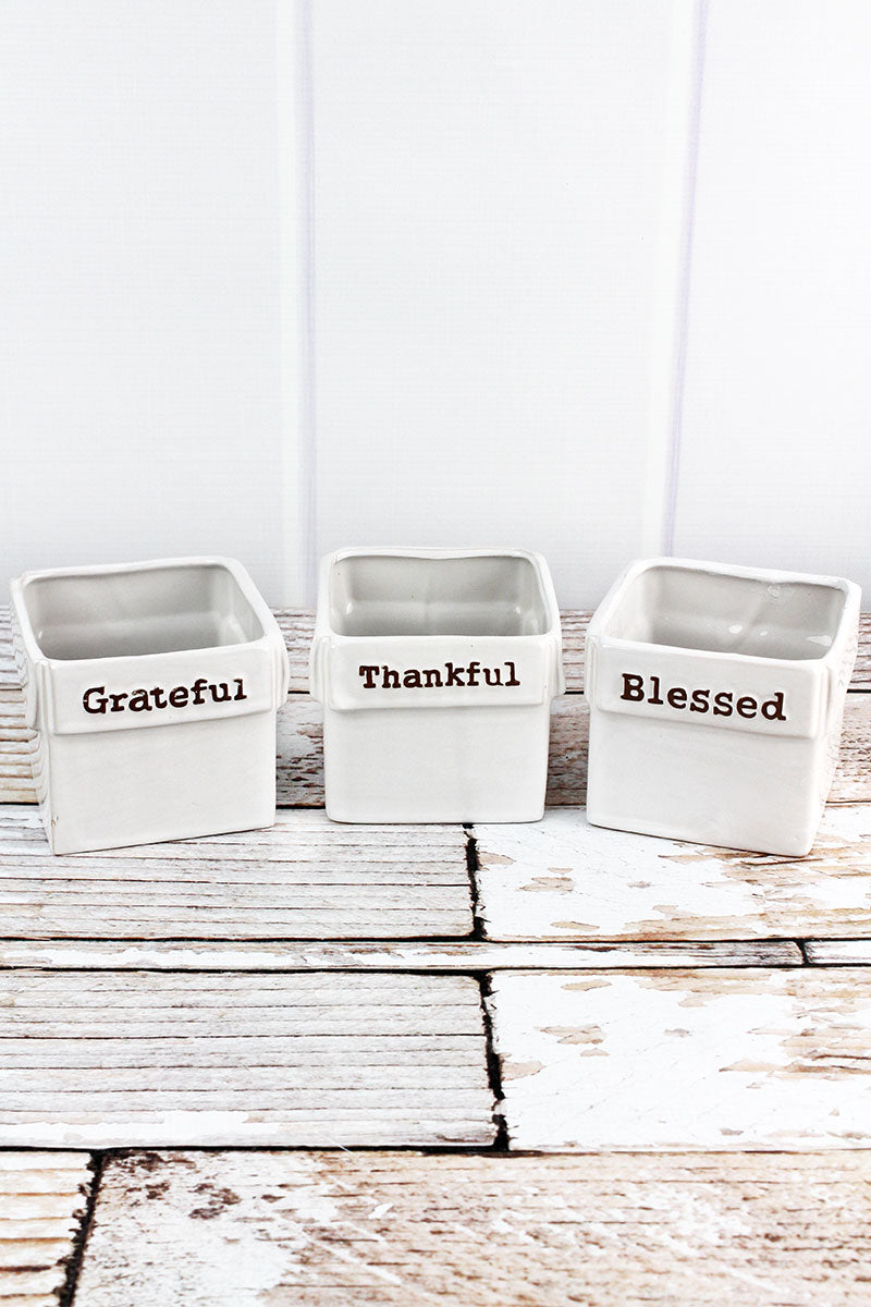 3 Piece Ceramic 'Grateful Thankful Blessed' Planter Set