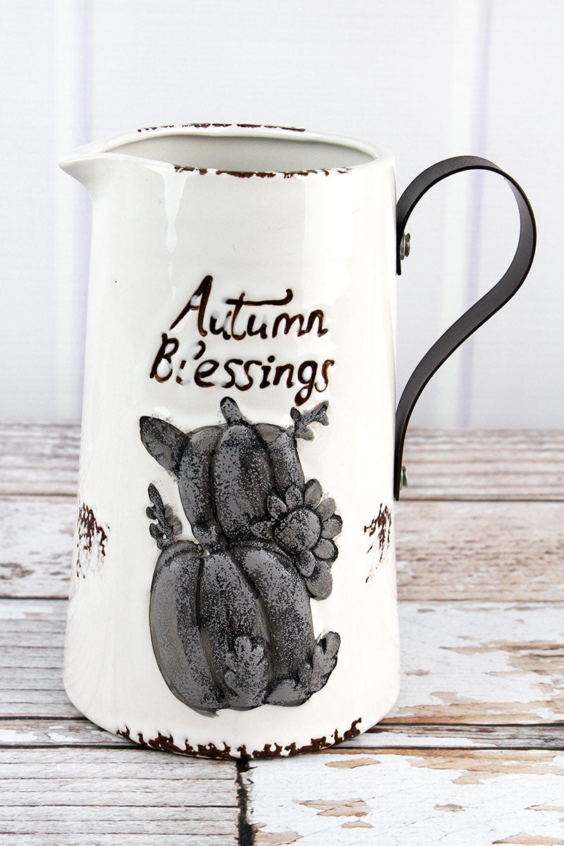 Ceramic 'Autumn Blessings' Fall Pitcher, 8""