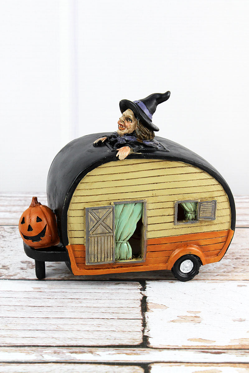 6 x 6.5 Witch and Jack-O'-Lantern Light Up Resin Camper