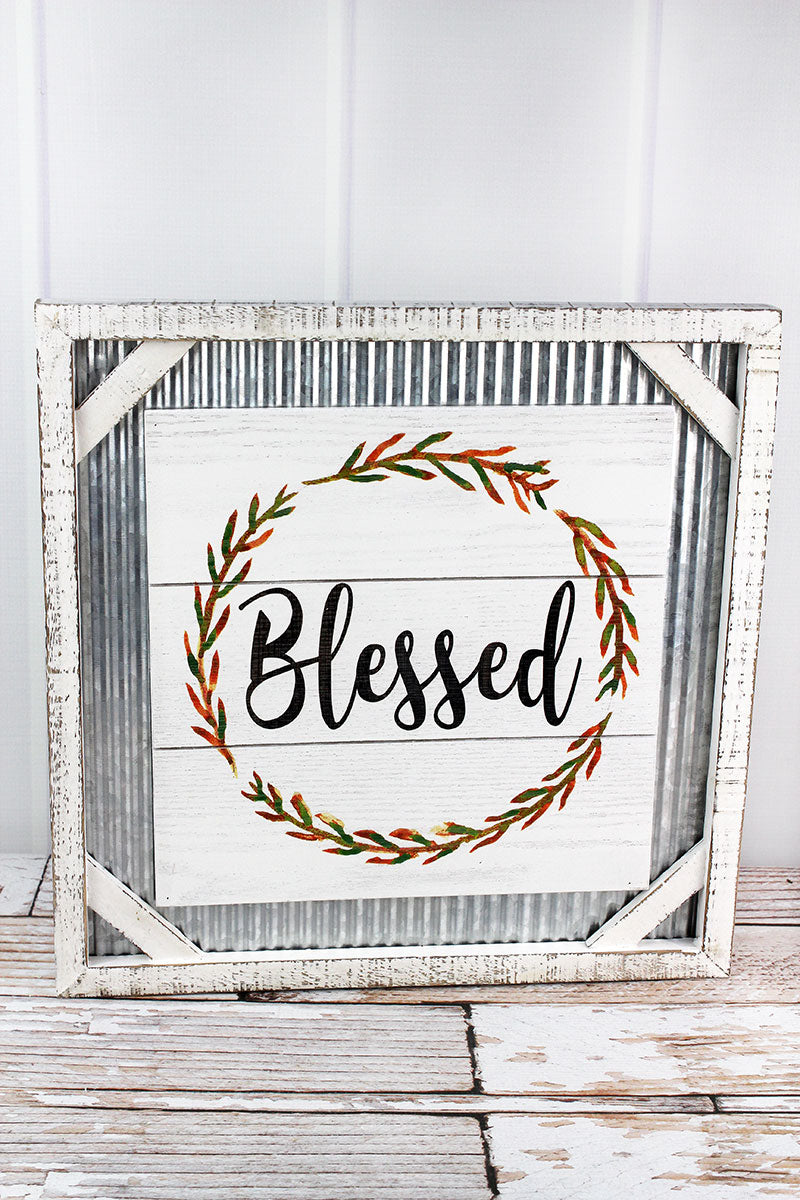 15.75 x 15.75 'Blessed' Framed Wood and Metal Wall Sign