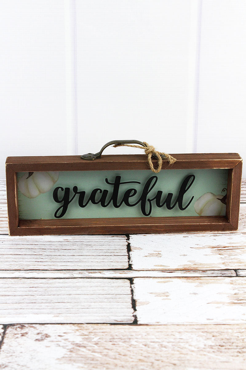 4.75 x 12 'Grateful' Wood Framed Drawer Box Sign