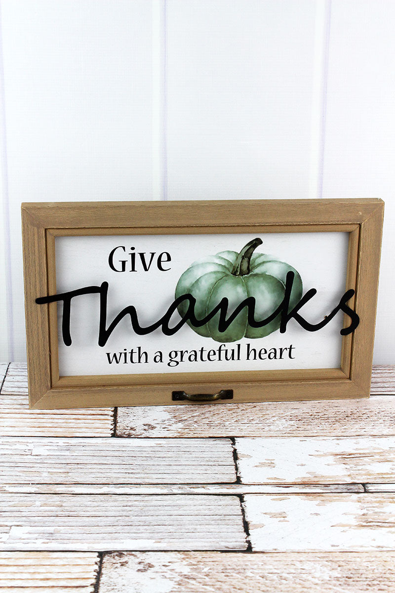 9.5 x 15.75 'Thanks' Pumpkin Wood Wall Sign