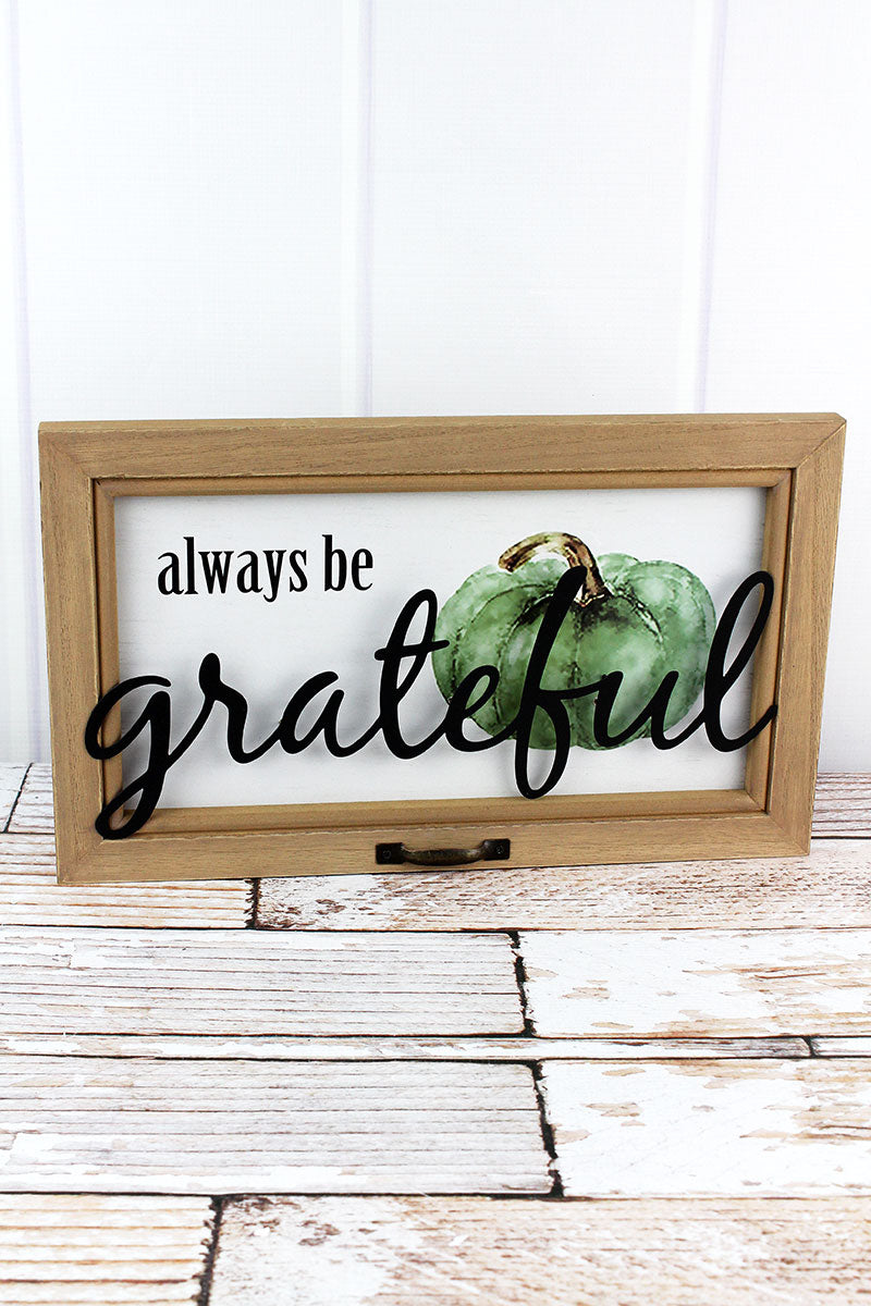 9.5 x 15.75 'Grateful' Pumpkin Wood Wall Sign