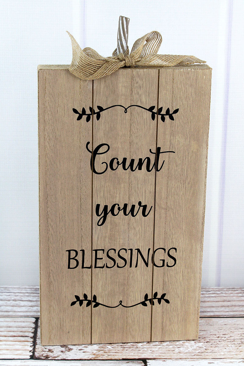 15.25 x 7.5 'Count Your Blessings' Burlap Trimmed Wood Pumpkin Sign