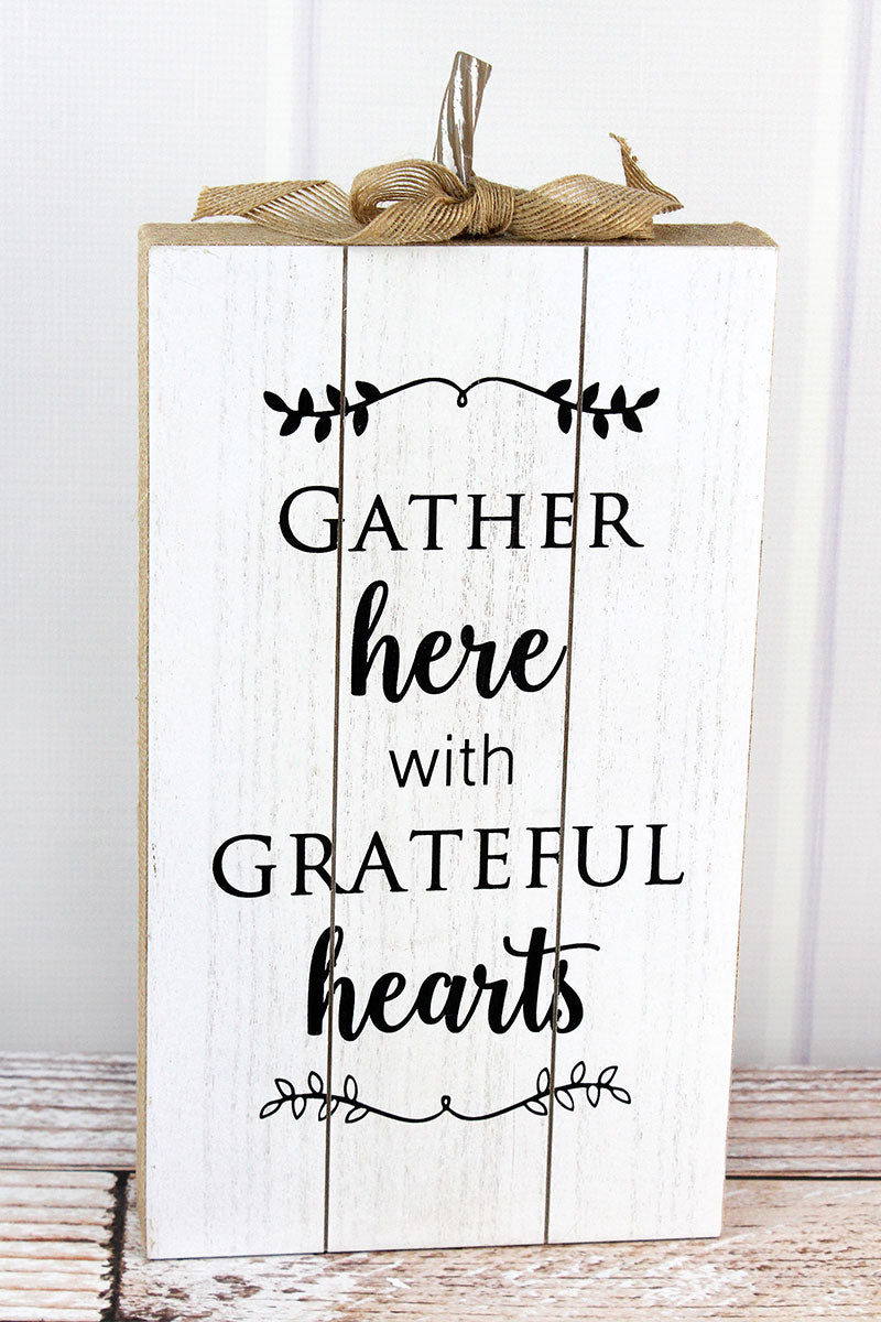 15.25 x 7.5 'Gather Here' Burlap Trimmed Wood Pumpkin Sign
