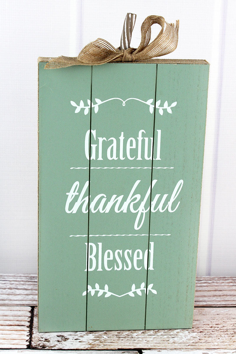 15.25 x 7.5 'Grateful Thankful Blessed' Burlap Trimmed Wood Pumpkin Sign