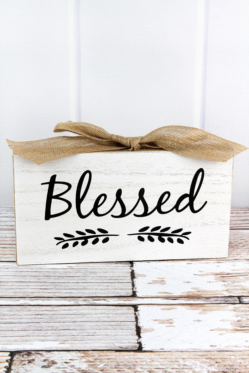 6.25 x 11 'Blessed' Burlap Trimmed Wood Block Sign