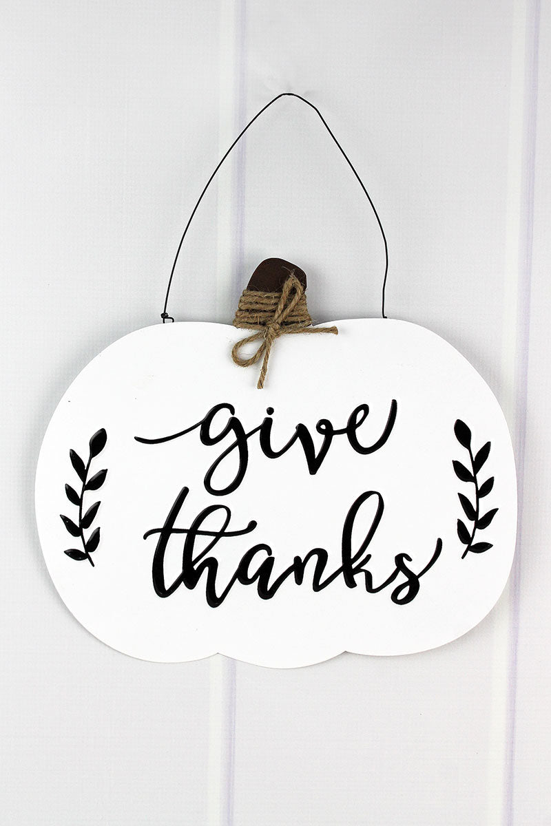 11.5 x 13 'Give Thanks' Black and White Metal Pumpkin Sign