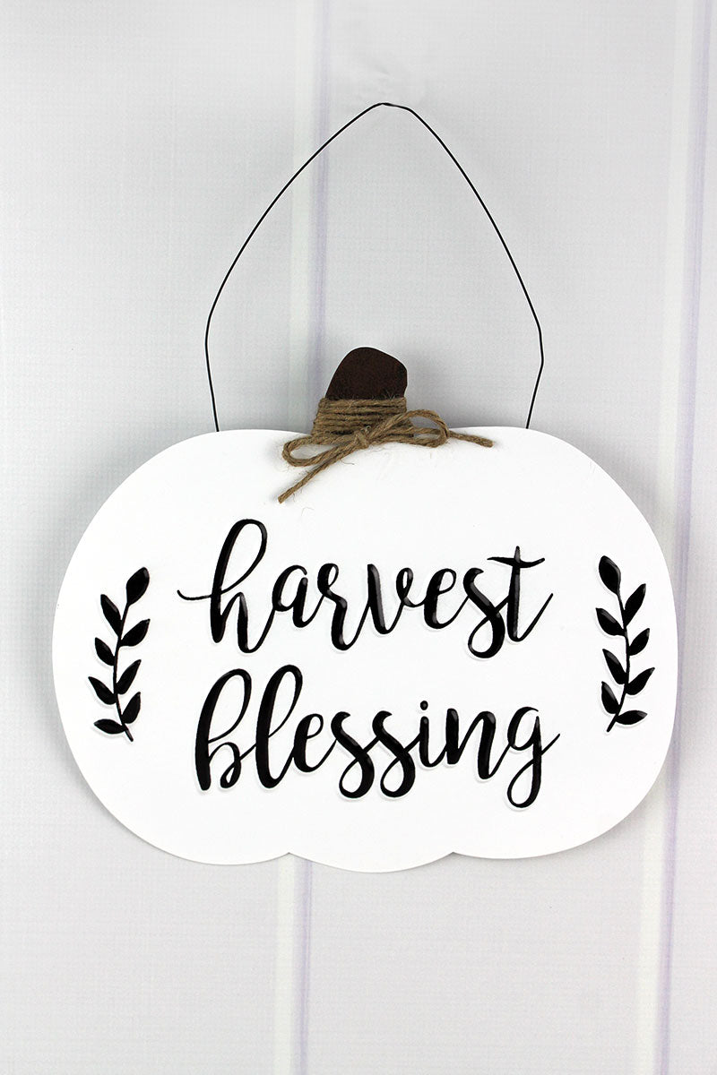 11.5 x 13 'Harvest Blessing' Black and White Metal Pumpkin Sign