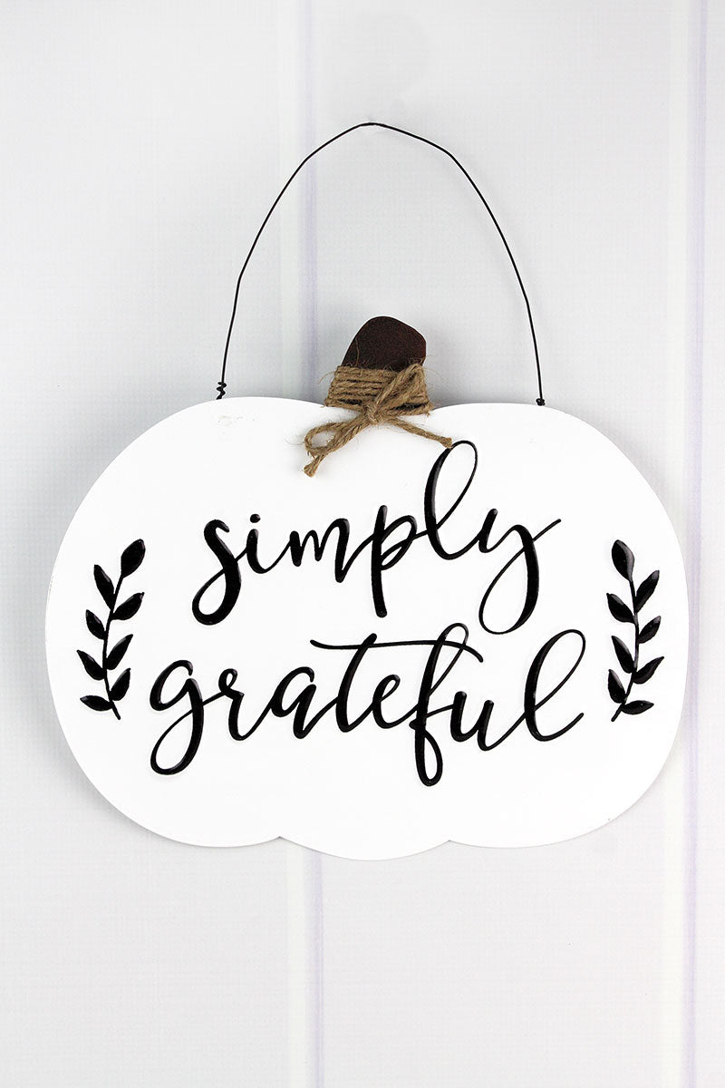 11.5 x 13 'Simply Grateful' Black and White Metal Pumpkin Sign