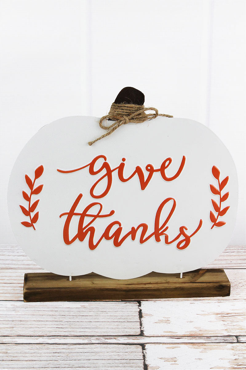 12 x 13 'Give Thanks' Metal and Wood Tabletop Pumpkin