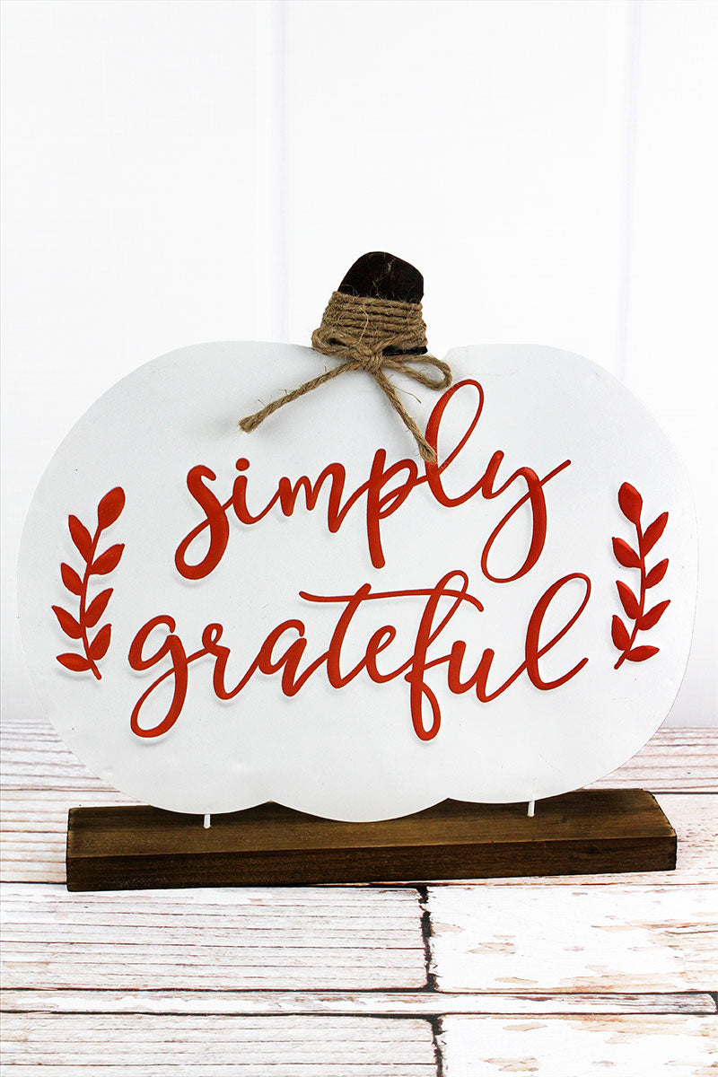 12 x 13 'Simply Grateful' Metal and Wood Tabletop Pumpkin