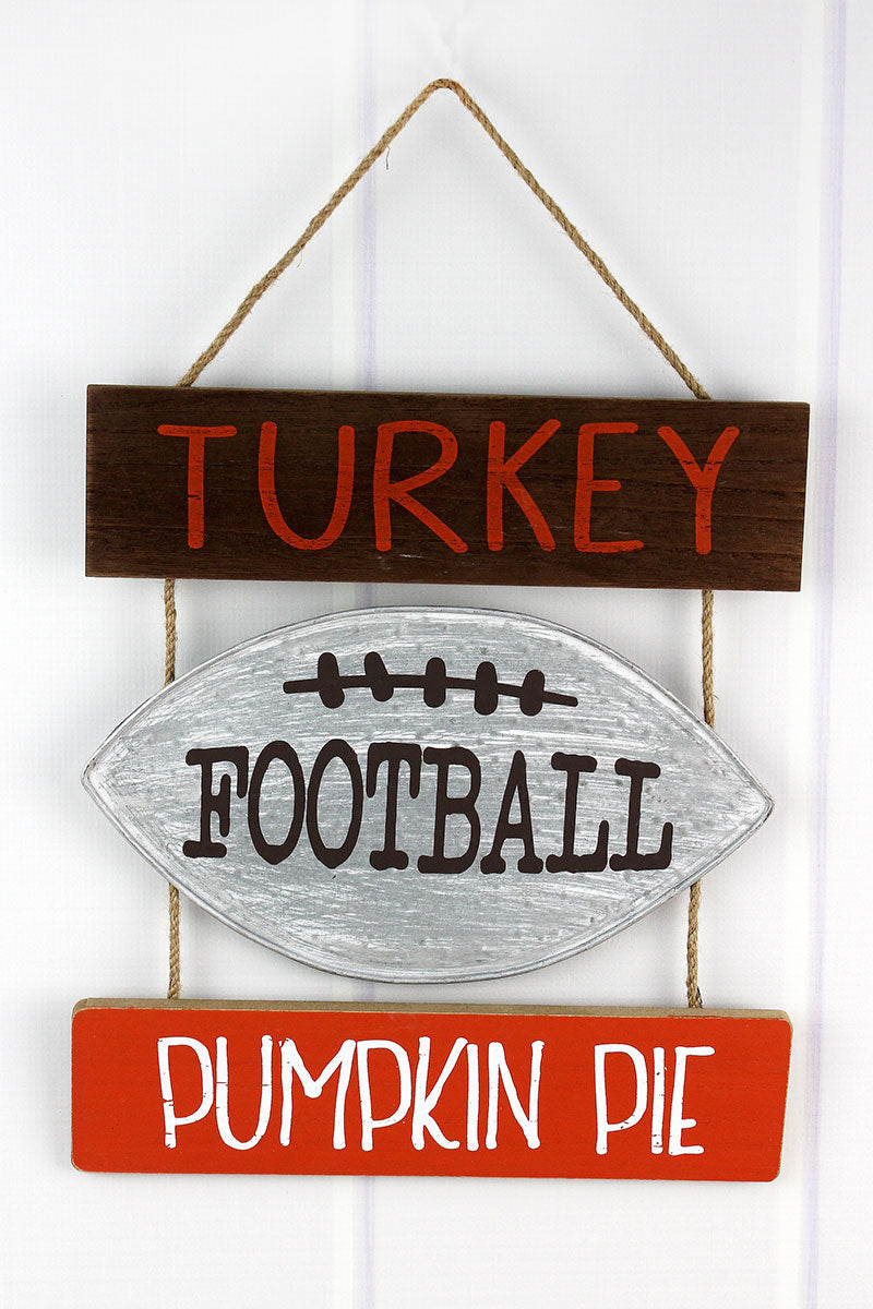 12.25 x 13.5 'Turkey, Football, Pumpkin Pie' Wall Hanging