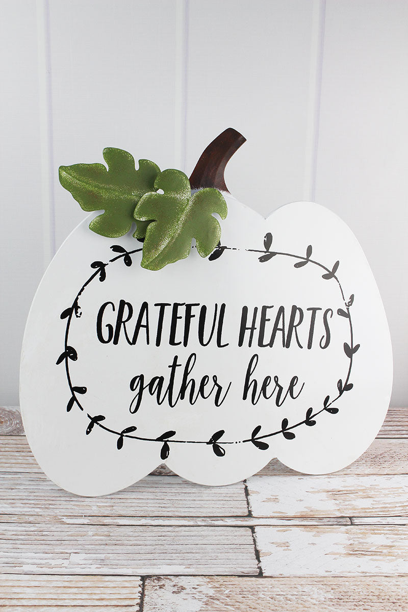 18.5 x 19.5 'Grateful Hearts Gather Here' Metal Tabletop Pumpkin