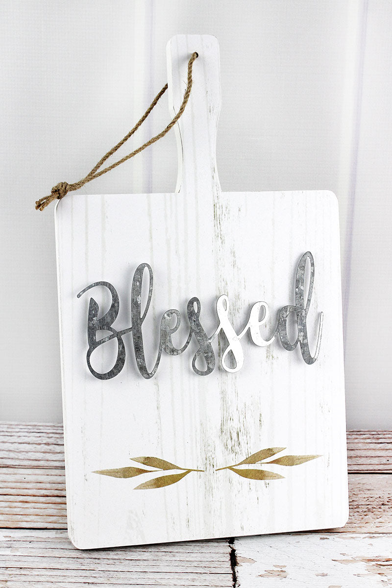 15.75 x 9 'Blessed' Wood and Metal Cutting Board Sign