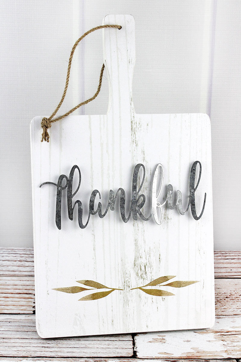 15.75 x 9 'Thankful' Wood and Metal Cutting Board Sign