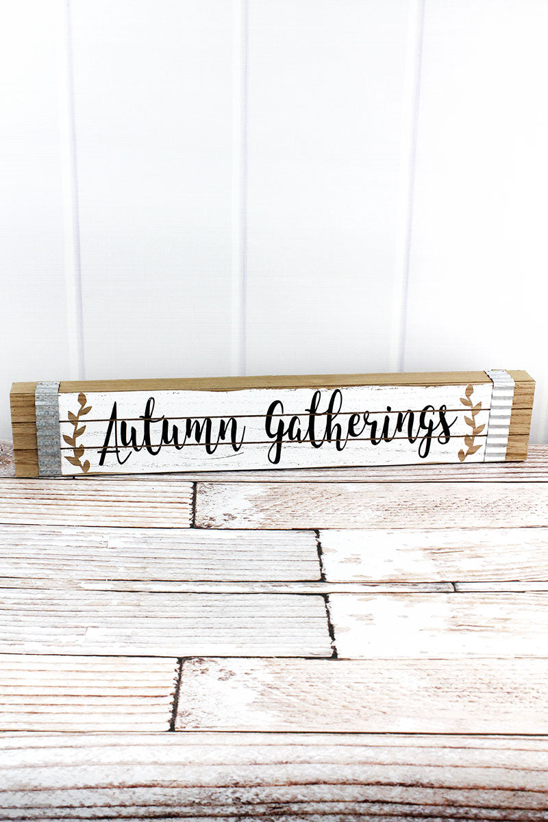 4 x 23.5 'Autumn Gathering' Wood Box Sign