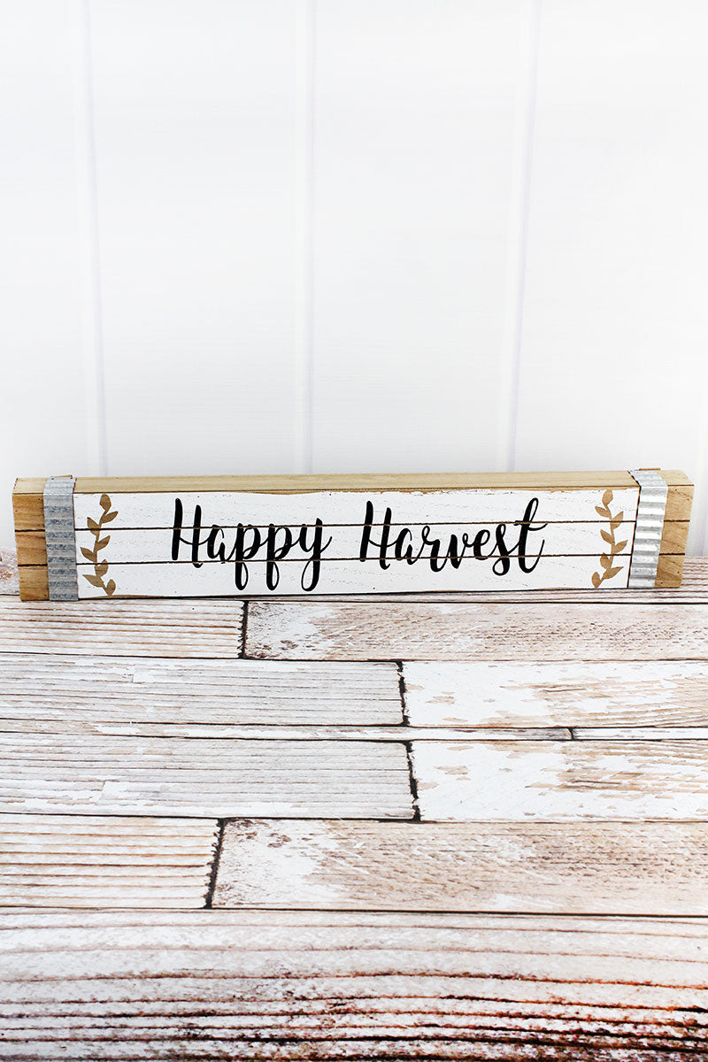 4 x 23.5 'Happy Harvest' Wood Box Sign