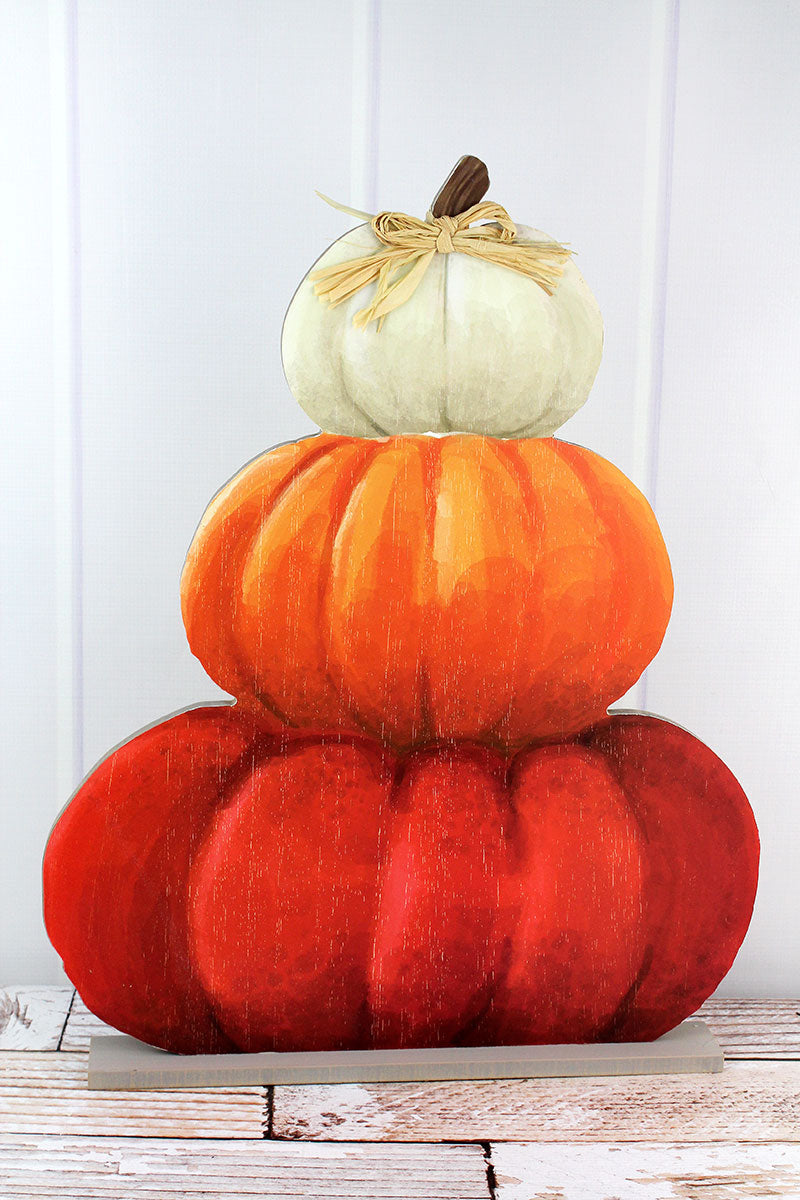 22.5 x 18 Stacked Pumpkins Wood Tabletop Decor