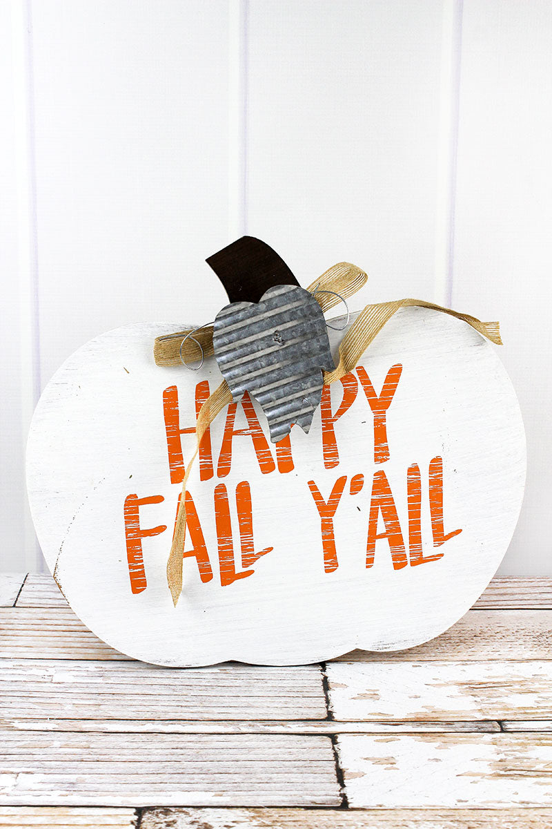 13.75 x 15.75 'Happy Fall Y'all' White Wood Pumpkin Sign
