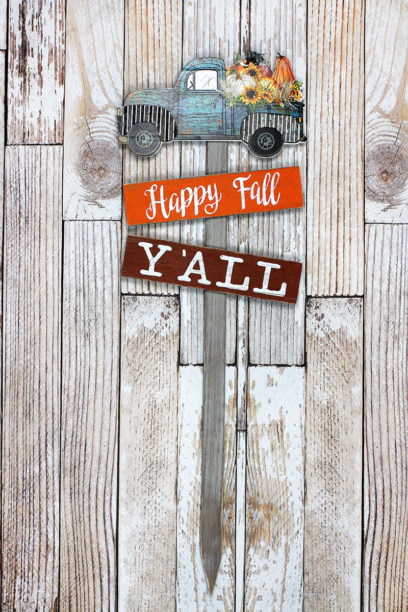 40.5 x 14 'Happy Fall Y'all' Farm Truck Wood Yard Stake