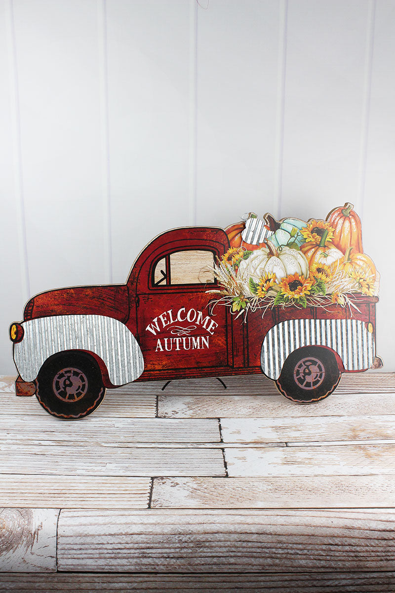 17 x 31.5 'Welcome Autumn' Wood Tabletop Farm Truck