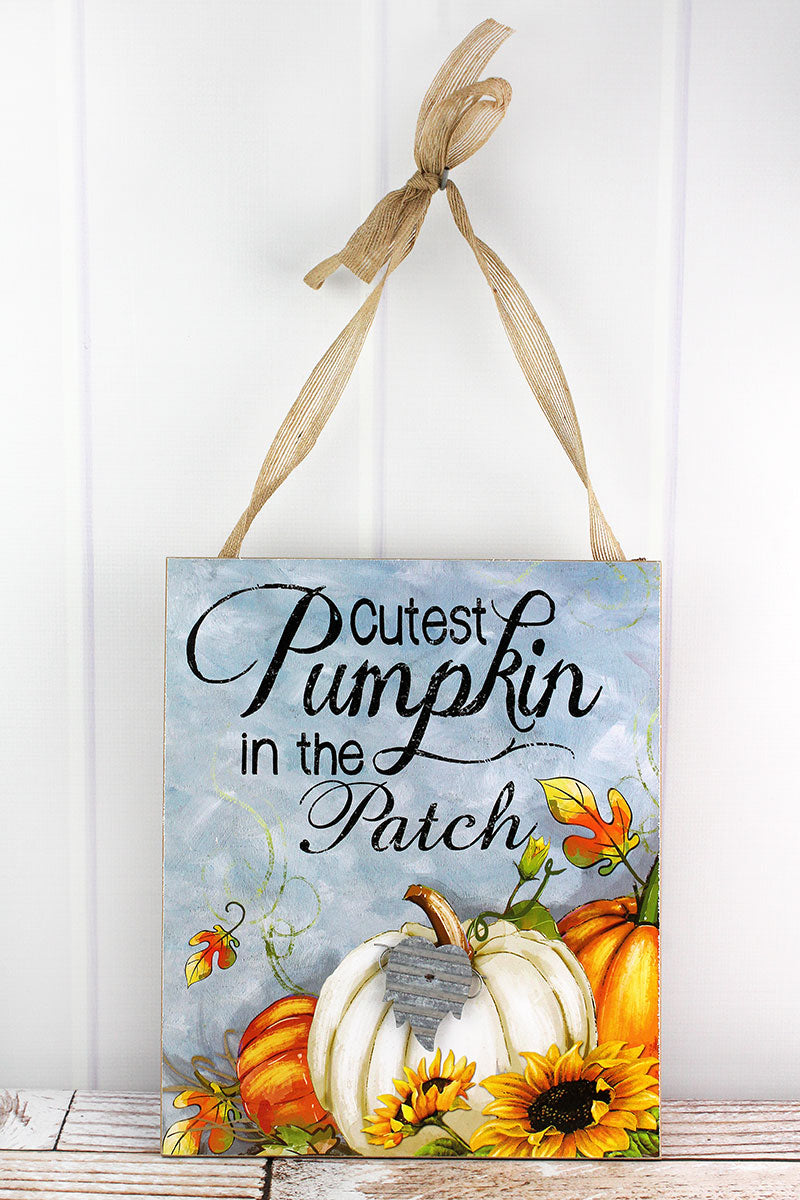 15 x 12.5 'Cutest Pumpkin In The Patch' Wood Wall Sign
