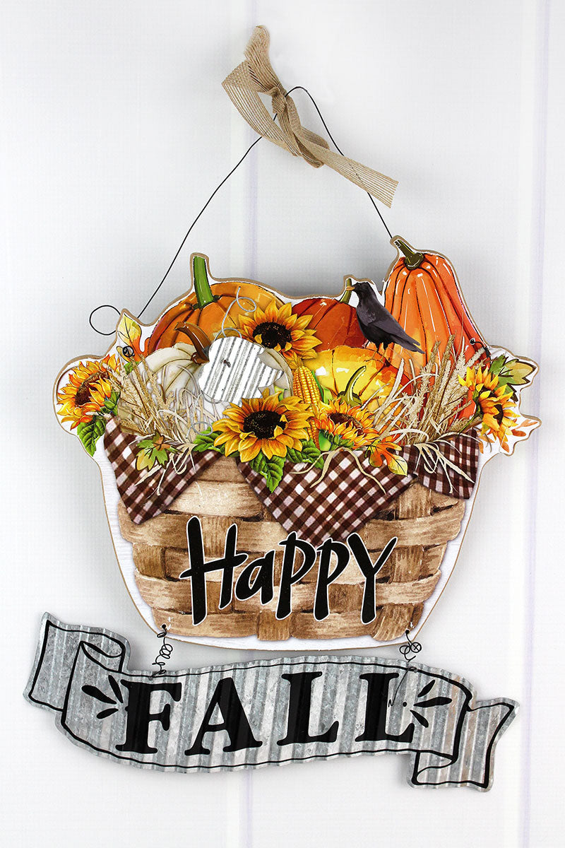 15 x 14 'Happy Fall' Harvest Basket Wall Hanging